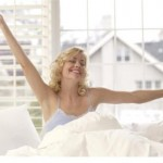 Blond Woman Waking Up in the Morning